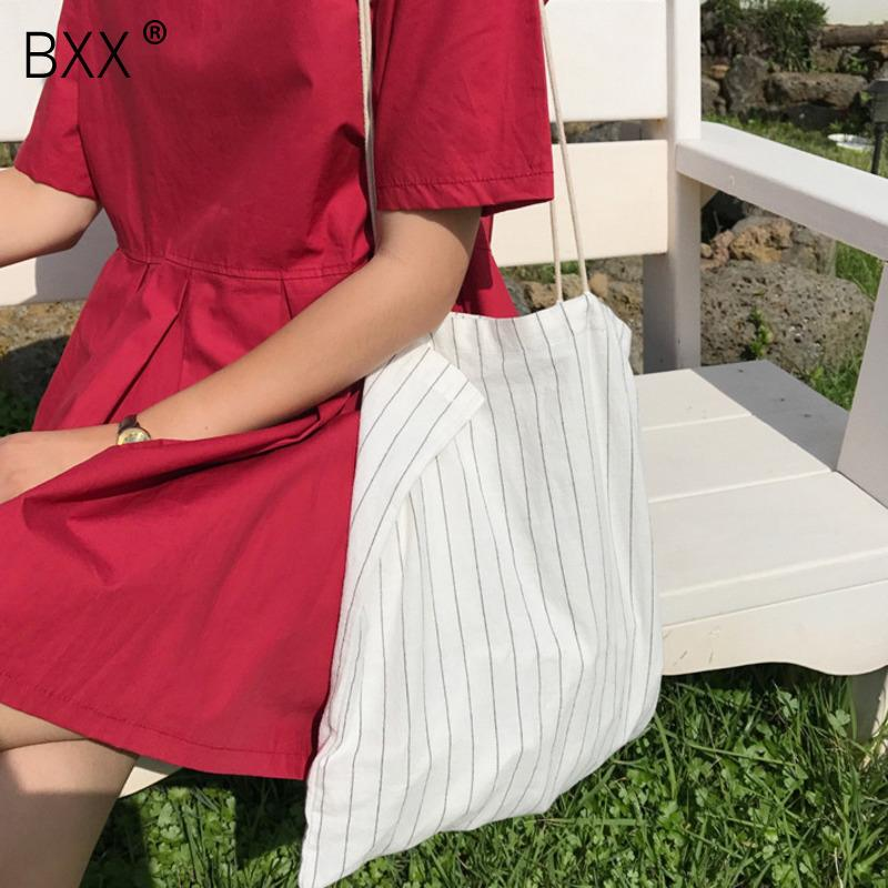[BXX] Tracolle Crossbody per le donne 2020 della molla casuali della tela di canapa a righe Borsa donna di capacità elevata di viaggio Shopping Bag HK710