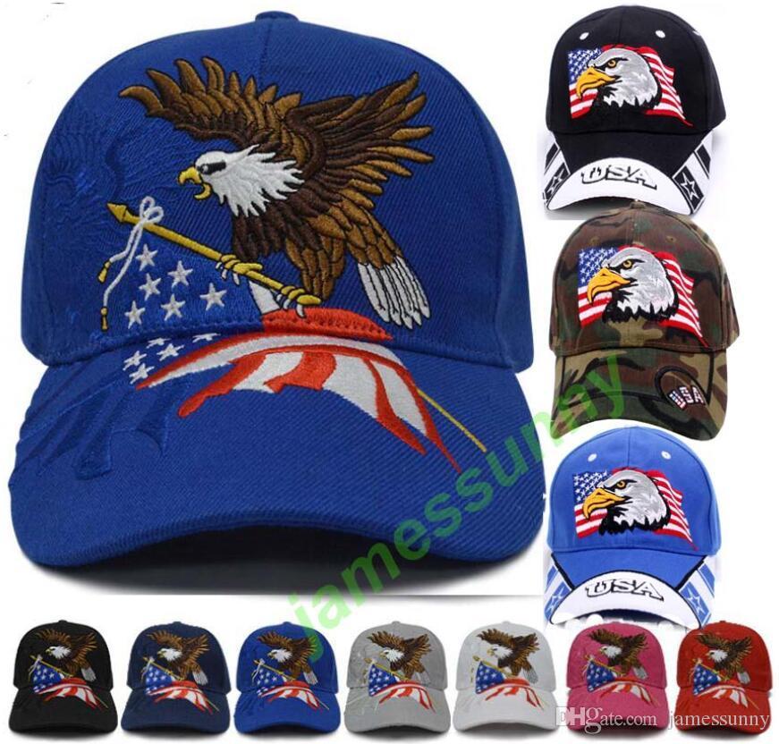 meilleur prix 9 styles drapeau américain aigle soleil chapeaux Donald Trump républicain Snapback sport chapeaux casquettes de baseball USA drapeau adultes chapeaux de sport