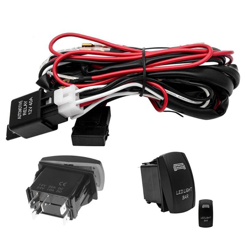 유니버설 12V LED 워크 라이트 바 레이저 로커 스위치 배선 하니스 키트 40A 릴레이 퓨즈 세트에 대한 자동차 트럭 오토바이