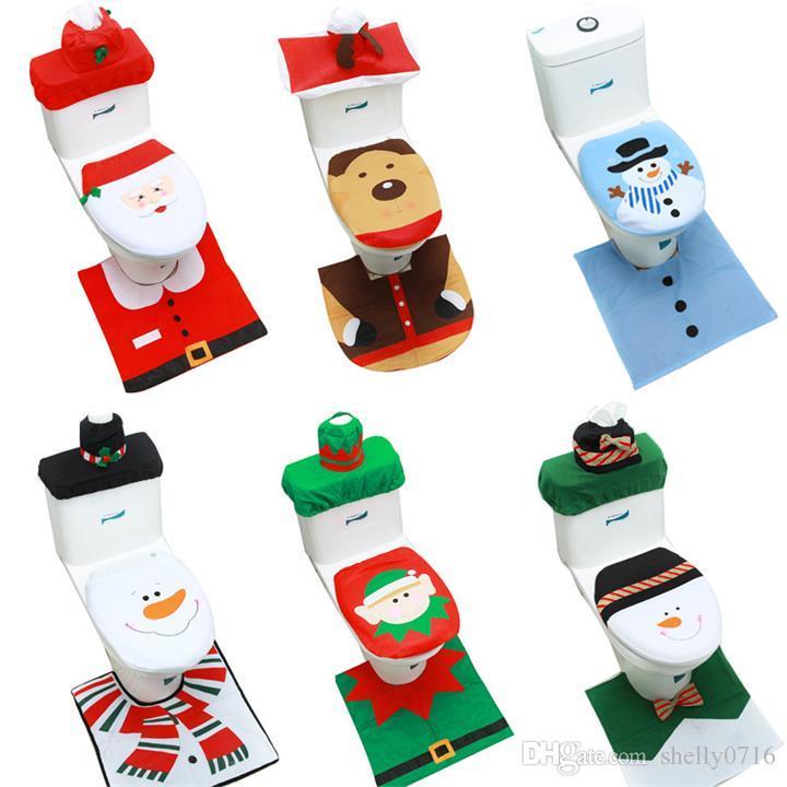 Happy Santa Tapa de Asiento de Inodoro Tapete del Piso Tapa del Tanque de Agua y Caja de pa/ñuelos Cubiertas para decoraci/ón Nitrip Conjuntos de ba/ño de Navidad