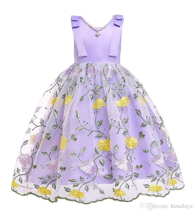 Baby Girls Embroidery Flowers Dress 2019 Kids Dresses For Girls Princess Dress Infantil Party Dress Girl Wedding Clothes With Pearl Necklace