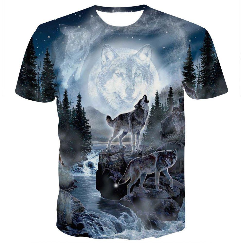 Sommer-T-Shirt Männer Streetrundhals Kurzarm T-Shirts Tops Funny Animal Männlich Kleidung Lässige Wolf 3D-T-Shirt-Druck
