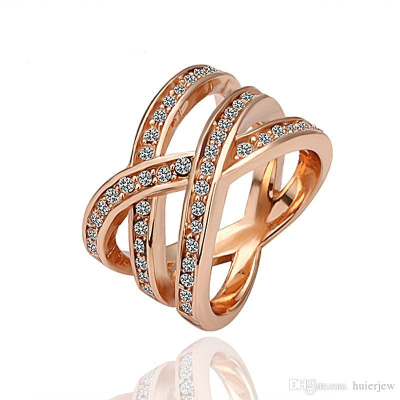 Rings Beautifully Rose Gold Filled Silver Plated Wedding Bands Dress 18K Gold Diamond Engagement Silver Rings Fashion Masonic Diamond Rings