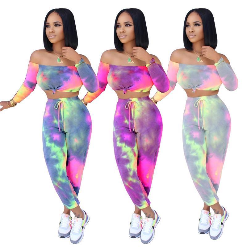 Tasarımcı Slash Boyun Tracksuits Seksi Kadınlar İki Adet Setleri Casual Kadınlara özel 2adet Uzun Pantolon Yaz Womens