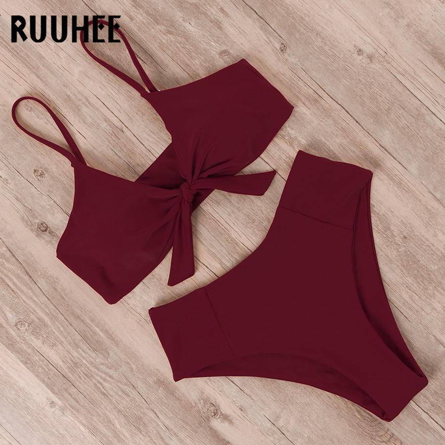 RUUHEE Bikini-Badebekleidung Frauen-Badeanzug 2019 hohe Taillen-Bikini-Satz Push-Up Front Knot Badeanzug Frauen-Sommer-Strandabnutzung Biquini CX200608
