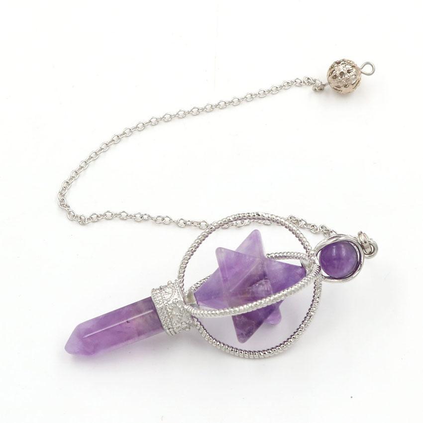 10 piezas de Merkaba símbolo metafísico de cuarzo rosa colgante de ágata Negro plateado plata del abrigo del alambre de regalo Jewelr