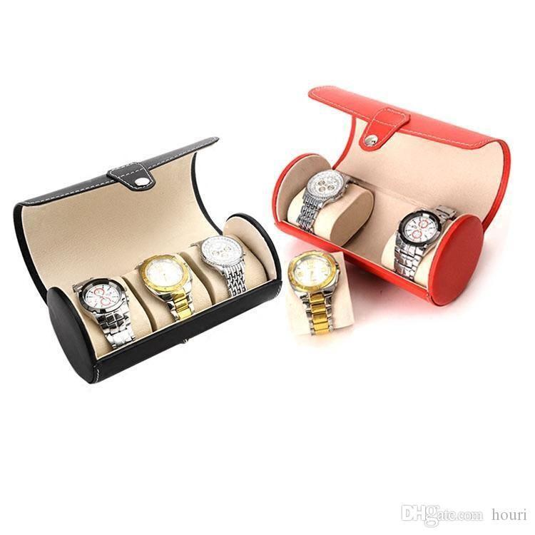 الجديد PU قشرة 3 موقف boxs عرض ووتش جولة مربع سلسلة اليد والمجوهرات مربع مضادة