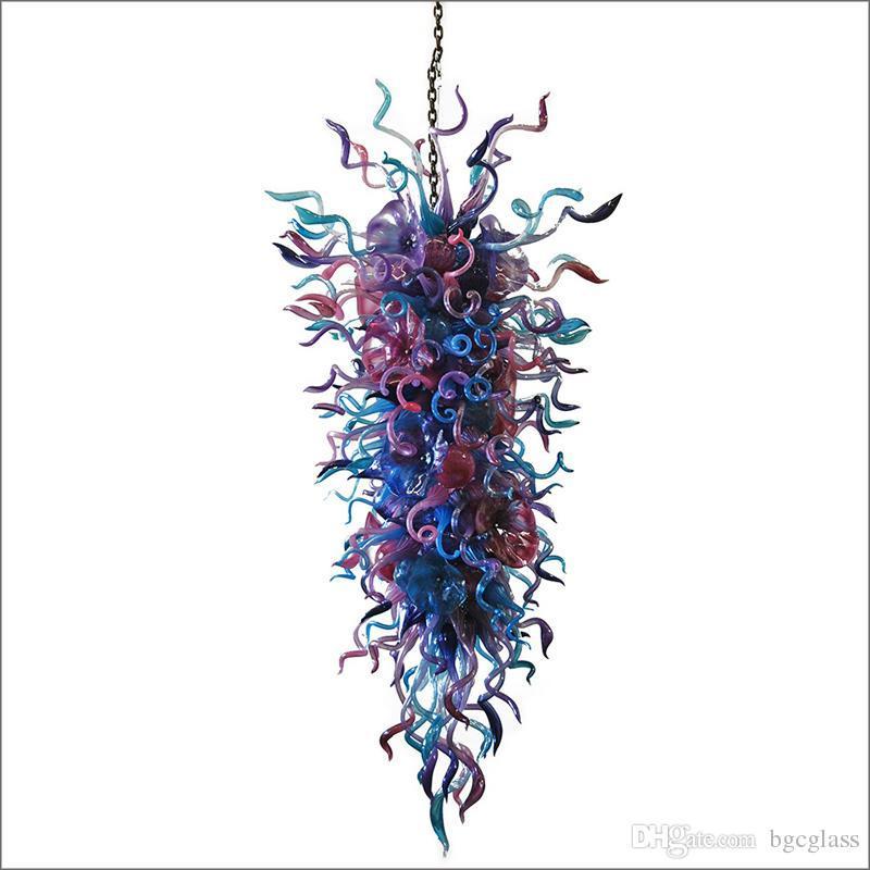 Уникальный Дизайн Art Deco освещения Customized Цветные люстры из муранского стекла ручной выдувного стекла LED Люстра Светильники для Фойе Decor