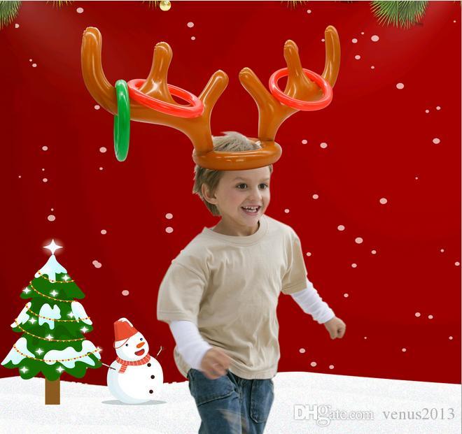 Новый Надувной Kid Дети Fun Рождественские игрушки Toss игры Reindeer Antler Hat с кольцами Шляпы партии Supplies