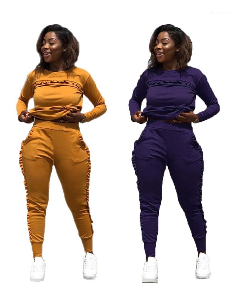 Casual Taschen Langarm Lange Hosen 2ST Sets Frauen Tracksuits Weibliche Kleidung Black Fungus Rand Womens Designer Tracksuits
