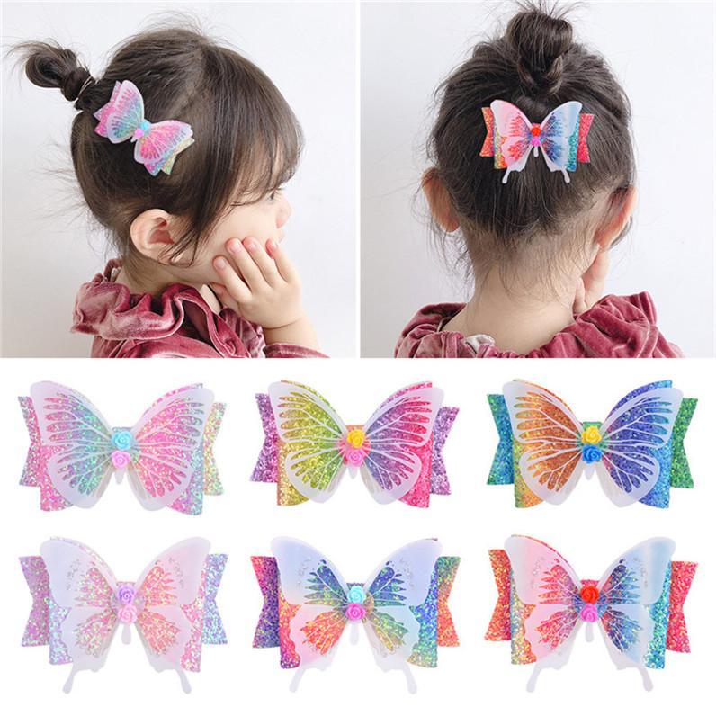 3.5 인치 반짝이 활 나비 머리 여자 아이 아기 그라데이션 무지개 색 헤어 핀 액세서리 모자 파티 해변 D6408에 대한 헤어핀 클립