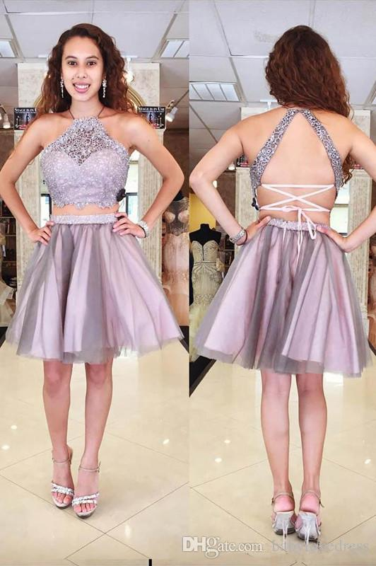 Two Pieces Light Purple Homecoming Dresses Halter Neckline Sleeveless Backless Short A-line Lace Tulle Juniors Sweet 16 Cocktail Party Dress