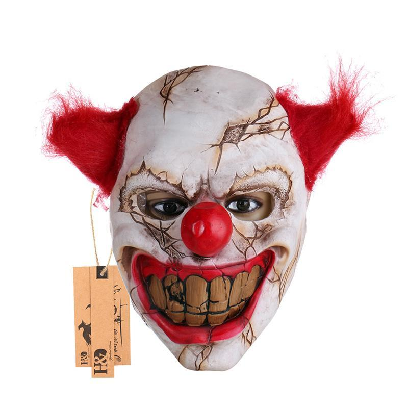Wholesale- Scary Clown Latex Mask Big Mouth Red Hair Nose Cosplay Full Face Horror Masquerade Adult Ghost Party Mask for Halloween Props