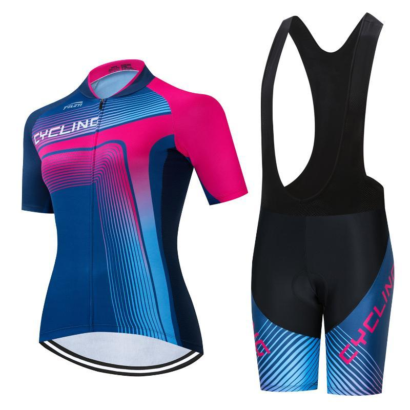 Women 2020 Summer Short Sleeve Cycling Jersey Set MTB Road Bike Clothing Kits Riding Uniform Bicycle Clothes Wear Triathlon Suit