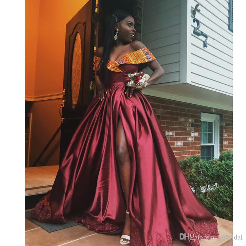 Afrika Nijerya Siyah Kızlar Kapalı Omuz Gelinlik Aplikler ile Yan Elbiseler Bölünmüş Akşam elbise vestido de noche Parti Abiye