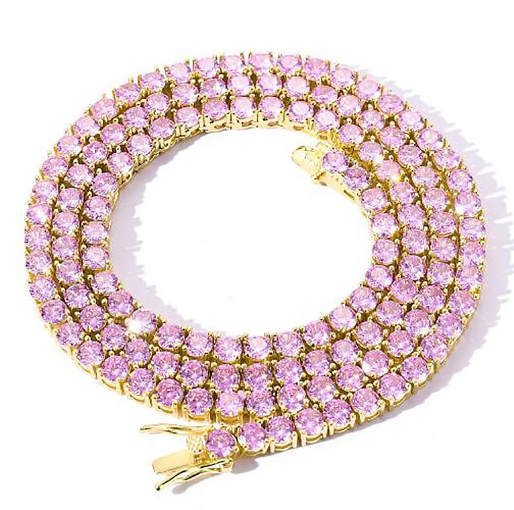Solitaire 4MM Tennis Chain Necklace Gold Silver Finish Pink Purple Lab Diamonds 18-24'' 1 Row Zirconia Diamonds Bling Tennis Chain Necklace
