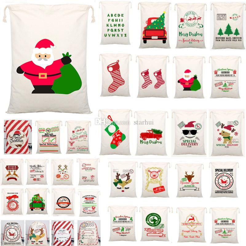 아이를 장식 WX9-1550 54 개 스타일 크리스마스 선물 가방 캔버스 졸라 매는 끈 부대와 순록 산타 클로스 자루 가방