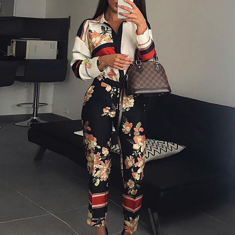 Women Fashion Elegant Casual Workwear Party Romper Female Floral Print Turn-down Neck Long Sleeve Jumpsuit Y19071701
