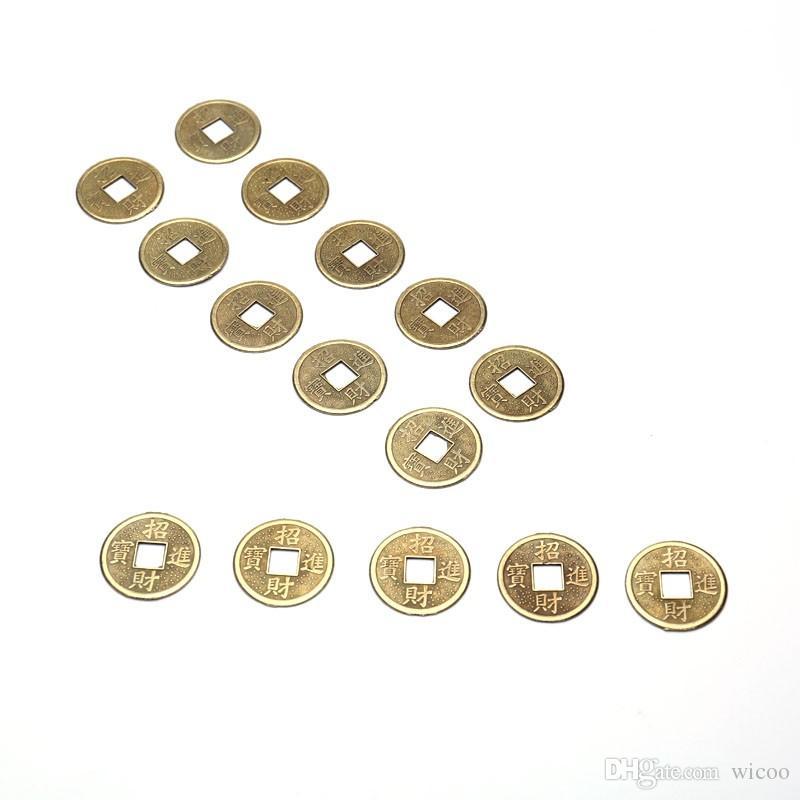 100 PCS / Ensemble En Laiton 24mm Chinois Ancien Feng Shui Chanceux Pièce Bon Fortune Dragon et Phoenix Antiquité Richesse Argent Collection Cadeau