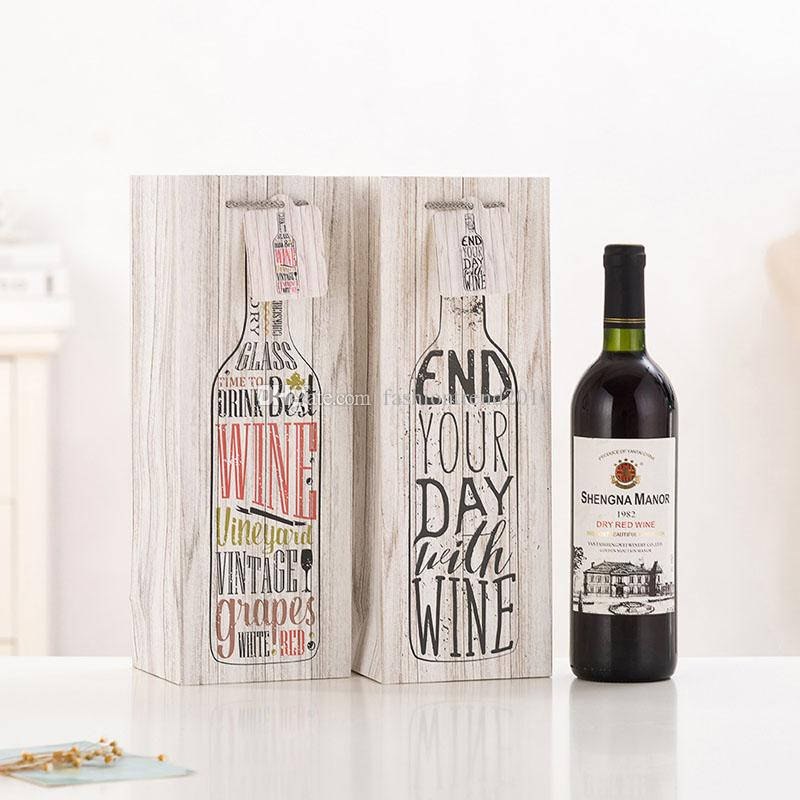 Kraft Paper Package Bags for One Bottle Red Wine Christmas Birthday Party Gifts Packing Storage Boxes with Handle