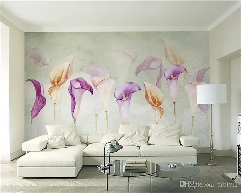 مخصصة 3d صور خلفيات جدارية غرفة المعيشة أريكة التلفزيون خلفية جدارية المائية كالا الزنبق زهرة صورة خلفيات جدارية ملصق ديكور المنزل