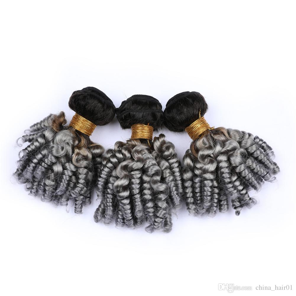 Malaysian Human Hair Ombre Silver Grey Aunty Funmi Bundle Deals 3Pcs #1B/Grey Ombre Funmi Curly Virgin Hair Weave Bundles Double Wefts