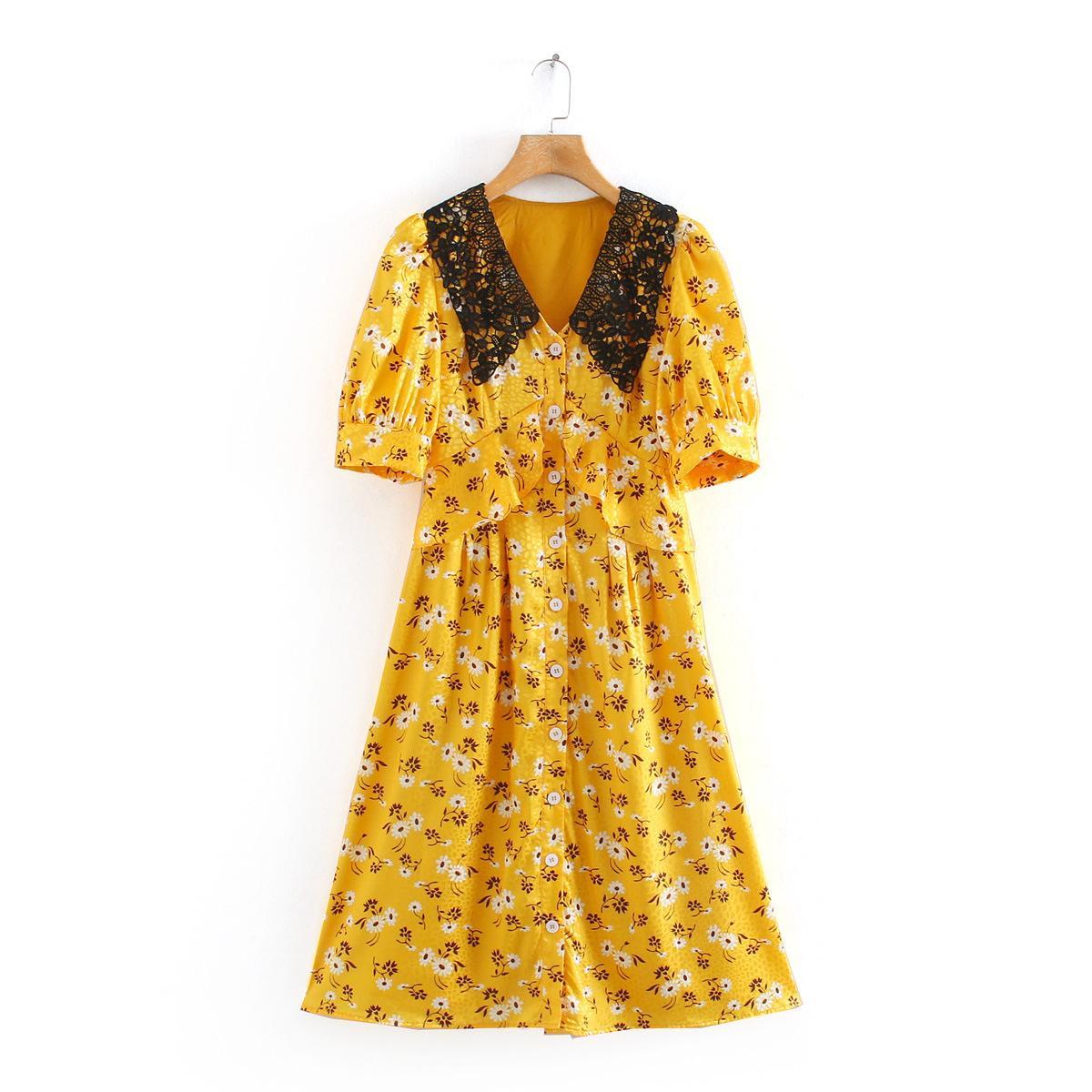 Frauen Blumendruck Bohemian Kleider 2020 neue Weinlese-Revers-Ansatz Kurzschluss-Hülsen-beiläufige Kurzschluss-Kleid Sommer Boho Ferien-Abend-Partei-Minikleid