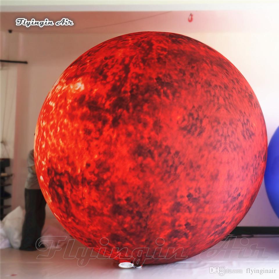 Scène de théâtre Décor d'éclairage gonflable fixe étoile soleil énorme boule Blow Up LED Planètes soleil brûlant Stellar ballon pour Night Party