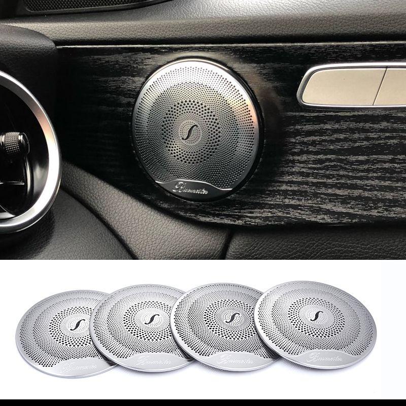 2019 4pcs For Mercedes Benz Car Audio Speaker Car Door Loudspeaker Trim Cover 2015-2018 C Class W205/GLC 2016-2018 E-Class Stainless steel