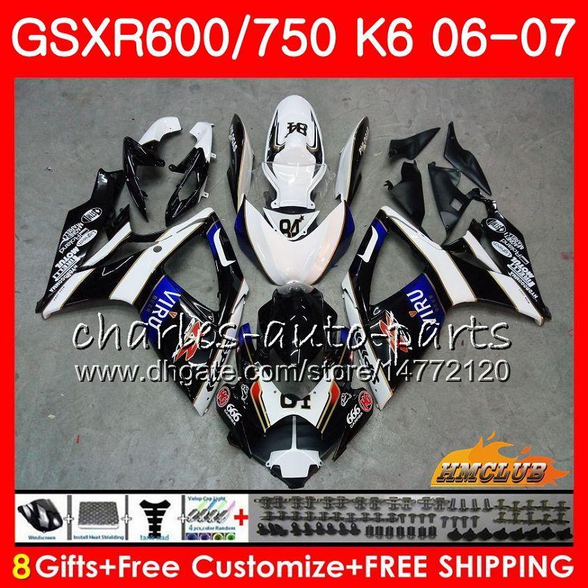 Niebieski Czarny Hot Ciało dla Suzuki GSX R600 GSX R750 GSXR600 2006 2007 8HC.96 GSX-R600 GSXR-750 K6 GSXR 600 750 06-07 GSXR750 06 07 Zestaw do błonnika