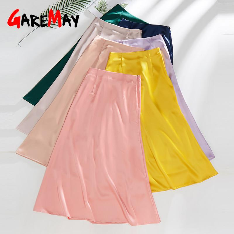 Women's Pink Green Silk Satin Skirt 2020 Vintage Korean Style Long High Waist Midi Skirt For Women A-Line Elegant Skirts Summer CX200701