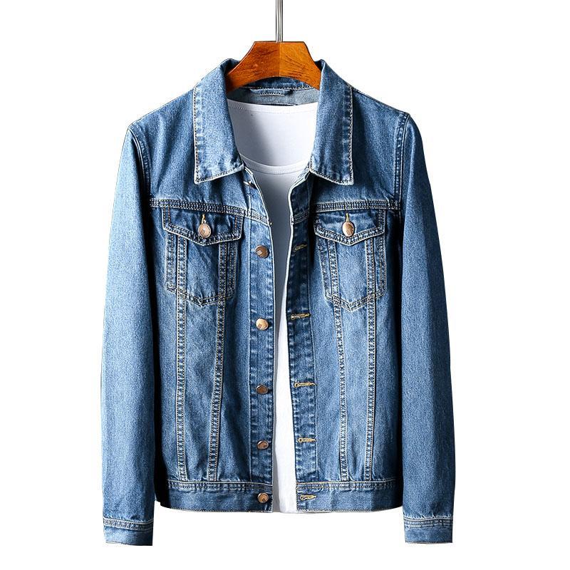 Jeans Hommes Denim Trucker Jacket Slim Fit Denim Jacket Mode Homme Jeans Vestes Mince Printemps Outwear Mâle Cowboy