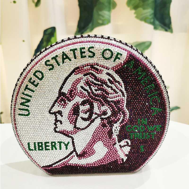 Púrpura / verde / blanco cristalino del dinero del embrague bolsa de mejor diseñador de las mujeres del diamante nupcial del partido Mujer Moda Embragues bolsos mini monedero