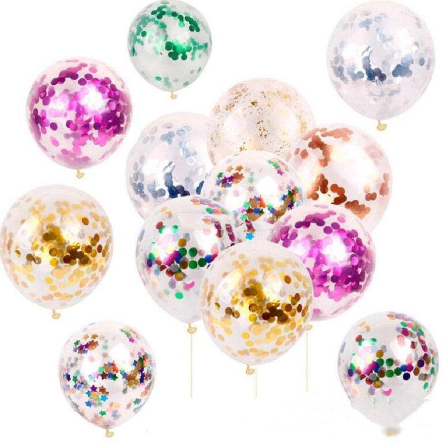 2019 New Fashion Multicolor Latex Sequins Filled Clear Balloons Novelty Kids Toys Beautiful Birthday Party Wedding Decorations