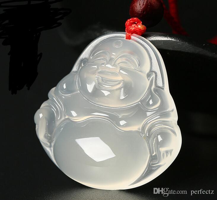 자연 옥수 흰색 옥 목걸이 연인의 패션 maitreya 웃음 Guanyin 부처님 펜던트 JADE jewelry
