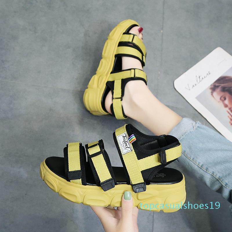 Chaussures beige à talons hauts Sandales Med Espadrilles plate-forme de 2020 femmes D'été talons Wedge Muffins Chaussures Noir Avec Moyen Haute t19