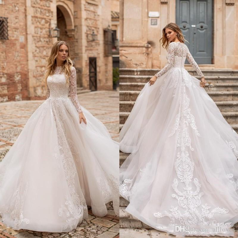 Charme longas mangas de renda de vestidos de casamento da Linha 2020 Projetado Appliqued longo vestido nupcial coberto Voltar Varrer Train Vestidos De Novia AL3383