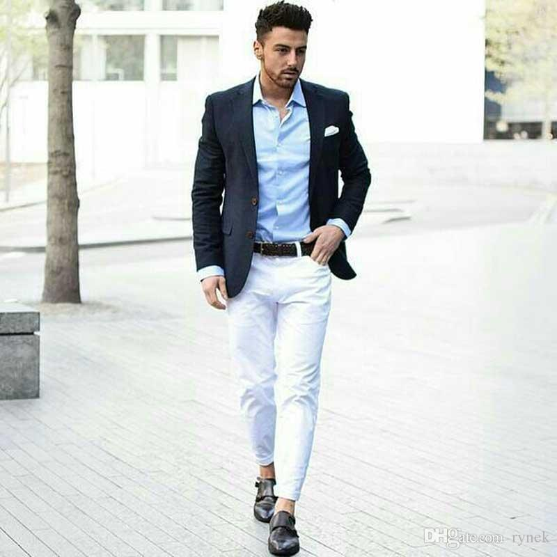 Sıska Kıyafetler Erkekler Düğün Rahat Erkek Iş Blazers için Suits (ceket + Pantolon) Custom Made Damat Smokin 2 Adet Slim Fit trajes de hombre