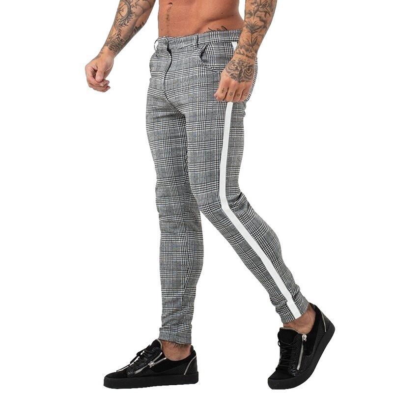 Plaid Männer Hosen beiläufige kurze Hose 2020 Fashion Men Harem Pants Jogger Jogginghose Streetseitenstreifen Bleistift-Hosen Pantalon Hombre