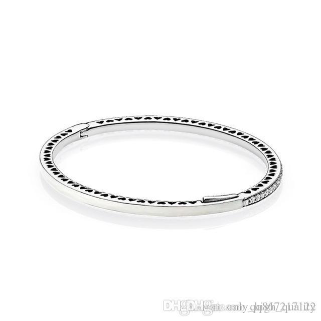 Originale 925 di serie in argento lungo bianco amore braccialetto bordo gemma rotonda, adatto per le donne a banchetto usura.