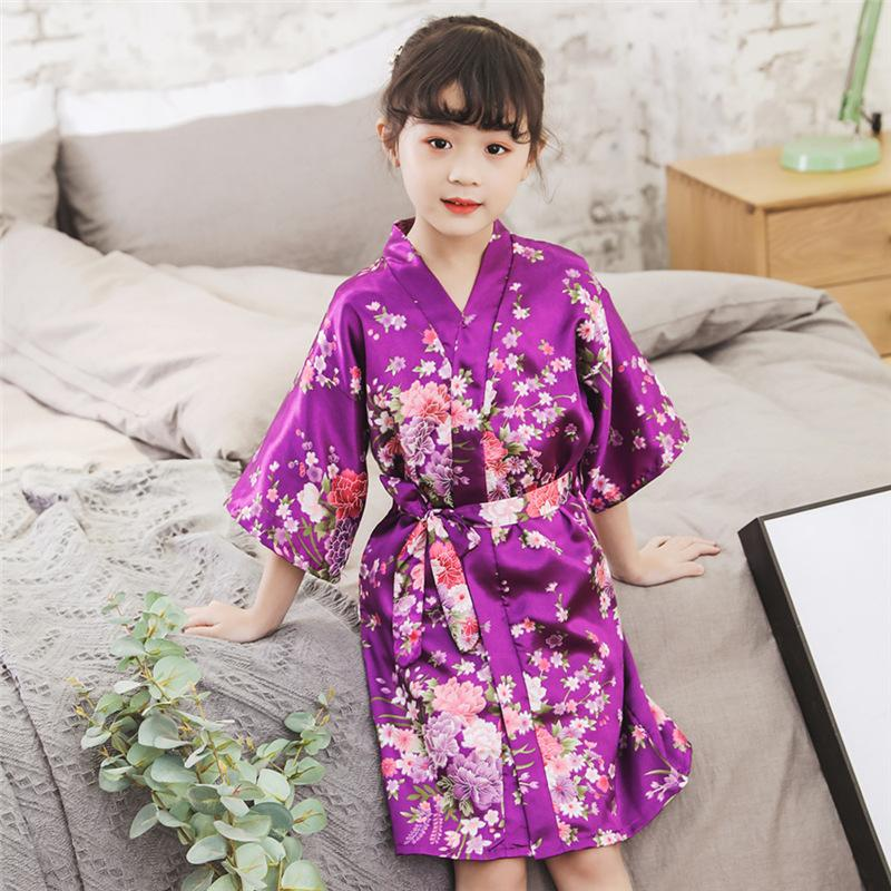 2020 Spring Summer Children Satin Robes Kimono Bath Robe Kids Flower Print Girl Silk Bathrobe Kids V-neck Lace-up Nightgown