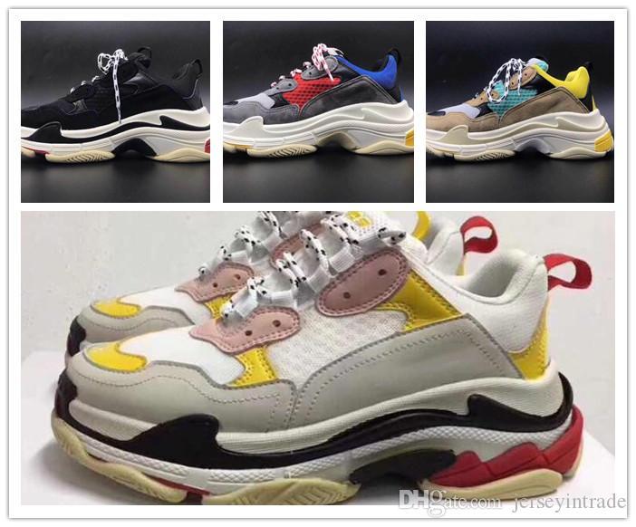 ¡Caliente! 2019 Moda Paris 17FW Triple-S Sneaker Triple S Casual Papá zapatos de lujo para hombres, mujeres, Beige, negro, tenis, tenis, zapatillas deportivas 36-45