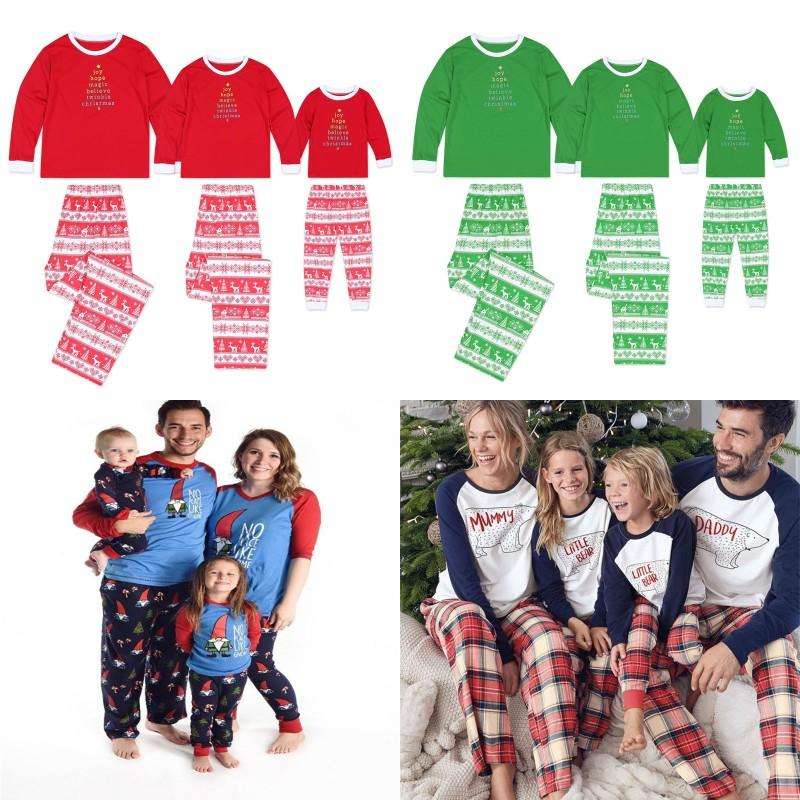 Family Matching Christmas Pajamas Set Family Letters Nightclothes Pyjamas Sleepwear Men Women Child Xmas Homewear 4 Styles BY1300