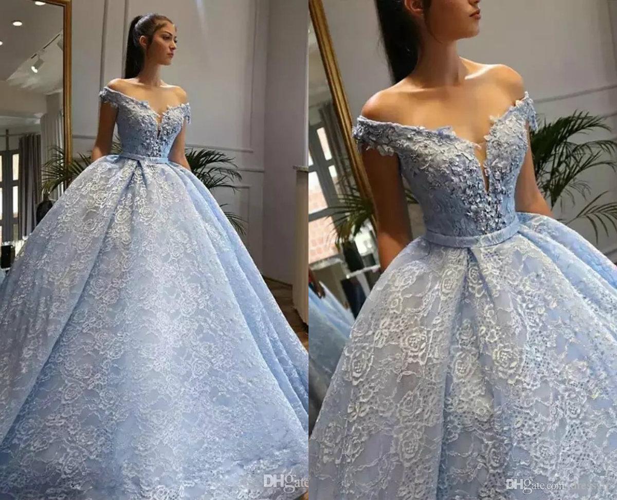 Elegant Quinceanera Dresses Off Shoulder Luxury Lace Appliqued Beaded Floor  Length Prom Dresses Ball Gown Plus Size Evening Dress Princess Quinceanera  ...