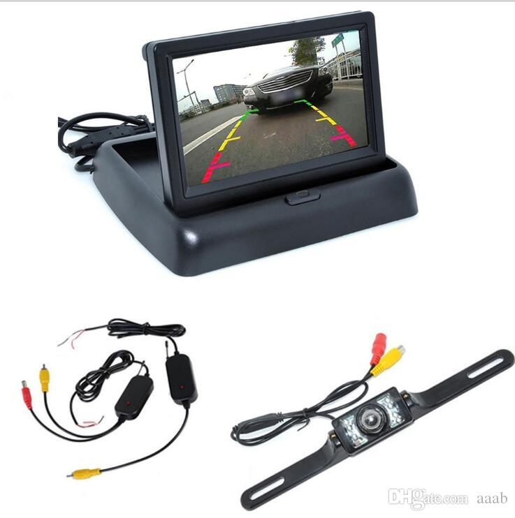 """New Car Rear View Camera Set 4.3"""" TFT LCD Monitor Wireless Transmitter Receiver Backup Reverse Camera Parking System Night Vision"""