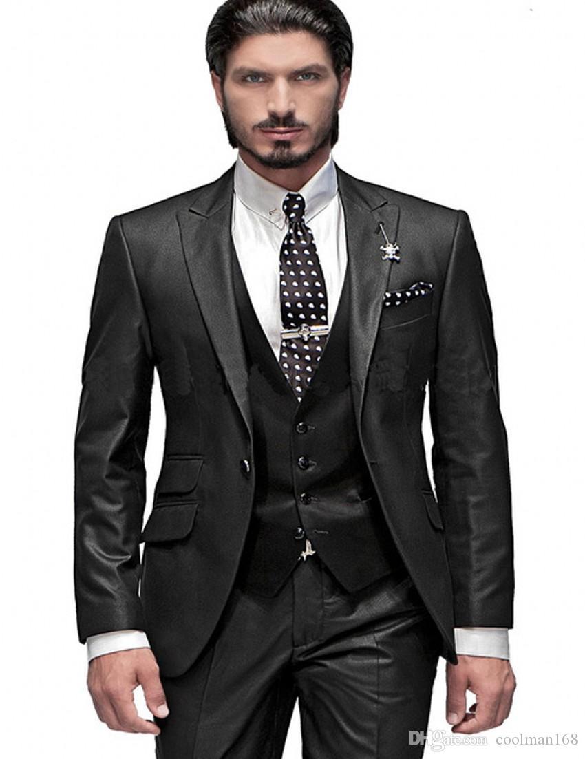 Yeni Tasarım Koyu Gri Slim Fit Damat Smokin Tepe Yaka Bir Düğme Groomsmen Mens Düğün Elbise Mükemmel Adam Suit (Ceket + Pantolon + Yelek + Kravat) 388