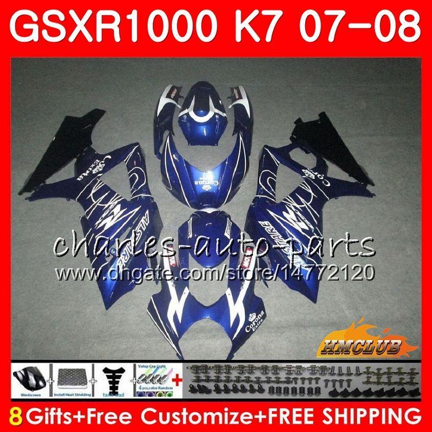 Body Blue Sprzedaż HOT dla SUZUKI GSXR-1000 GSX-R1000 GSXR1000 07 08 Nadwozie 12HC.54 GSX R1000 07 08 K7 GSXR 1000 2007 2008 Zestaw Fulling
