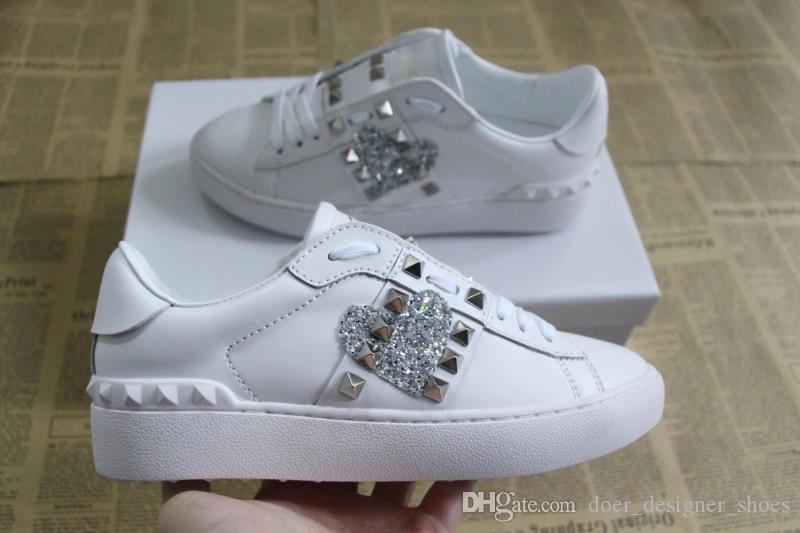 mens moda das mulheres sapatos de grife de luxo formadores de couro baixo-parte superior com top coração qualidade de impressão do logotipo tonguecasual Sneakers tamanho 35-46