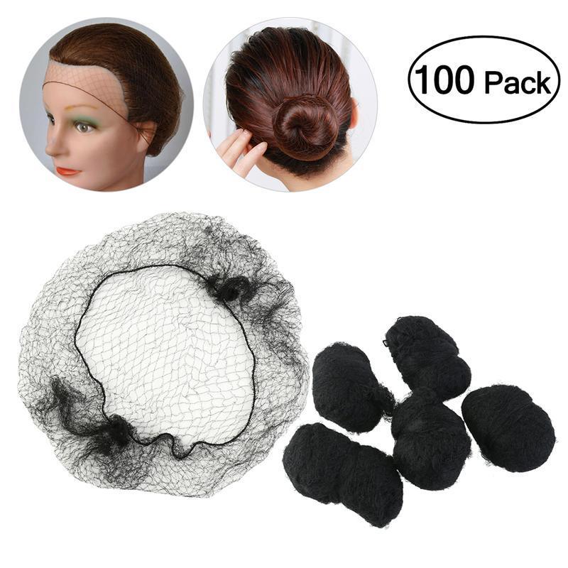 100 unids Redes de pelo Cinturón elástico invisible Elástico del pelo Peinado Líneas suaves para bailar Pelucas netas del pelo del Sporting Tejiendo negro