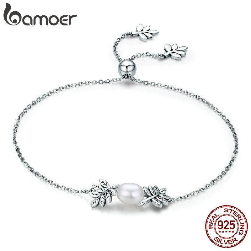 BAMOER nuovo arrivo argento sterling 925 foglie di ulivo Bracciale Strand Albero Foglia donne per le donne Sterling Silver Jewelry SCB071